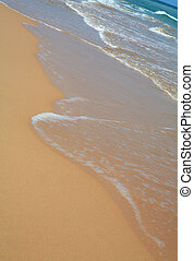 Tropical beach - The sea washing over a tropical beach, its...
