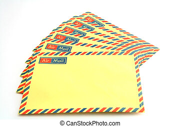 Airmail envelopes - A group of unaddressed airmail envelopes...