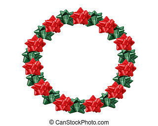 Christmas Wreath - Christmas wreath made out of bows.