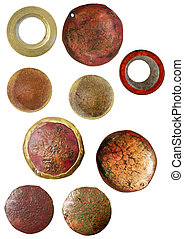 cameo findings - round rusted cameo objects for digital...