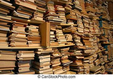 Books, books, books... Thousands of books in a second-hand...