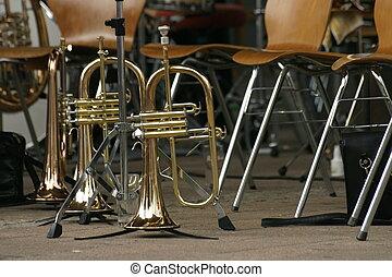 trompetas, músico, Interrupción, suelo