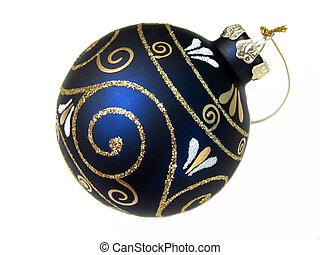Blue Christmas ball - Closeup on dark blue Christmas tree...