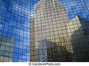 Reflections - A reflection of skyscrapers in the windows of...