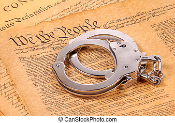 American Justice - Bill of Rights and Hand Cuffs