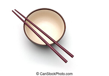 Chopstick and Bowl - Isolated picture of chopsticks on a...