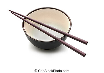 Chopstick and Bowl 3 - Isolated picture of chopsticks on a...