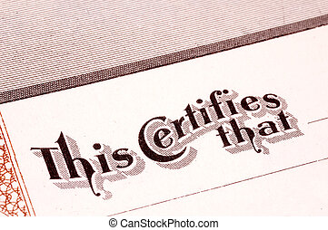 Certification - Stock Certificate