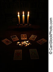 cards and coins - tarot cards