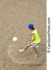football-player on the sand