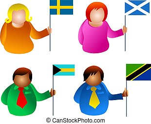 flag people - icon people holding flags
