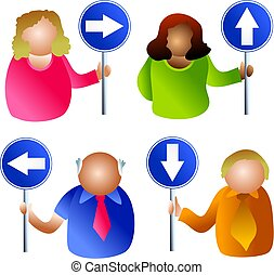 sign people - icon people holding signs