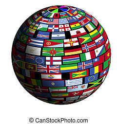 Flag-covered earth - Quad3 view - Flags of all nations cover...