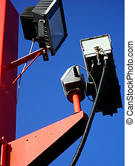 CCTV with Floodlight - Old CCTV camera with floodlight,...