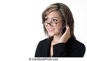 Cute receptionist with headset on white