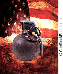 Grenades With American Flag Background