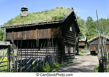 Old Norwegian Farm House - Old farm building at the folk...