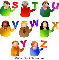 alphabet people - icon people holding letters of the...
