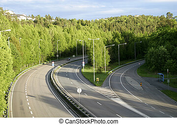 Highway in a Forest Area - E18 going from Fredrikstad Oslo,...