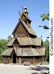 Stave Church - Stavkirke stave church located at the folk...
