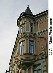 Spire on the corner of a building in oslo norway