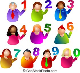number people - icon people holding numbers
