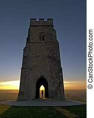 Sunset on Glastonbury Tor - Glastonbury Tor at sundown in...
