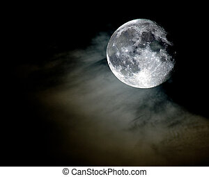 full moon in dark cloudy sky