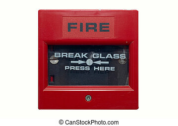 Fire Alarm - Silightly damaged fire alarm panel White...