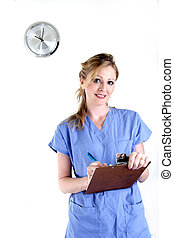 Nurse charting - Nurse writing in patient chart