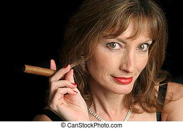 Got A Light? - A beautiful woman holding out a ciger,...