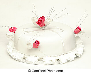 Celebration Cake - Decorative cake with roses iced
