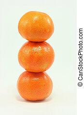 mandarins - stack of 3 mandarins