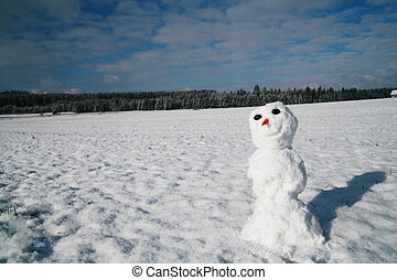 Snowman - beautiful winter mood snowman in winter