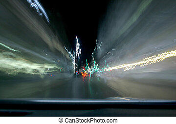 Pure Speed - Image taken through the windshield of a car,...