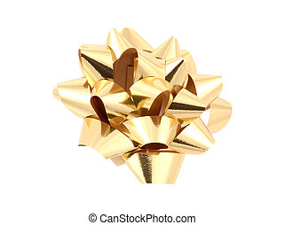 Gold Bow - Clipping Path - Isolated Gold Bow With Clipping...
