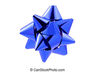 Blue Bow - Clipping Path - Isolated Blue Bow With Clipping...