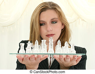 Beautiful Twenty Five Year Old Business Woman With Chess Set...