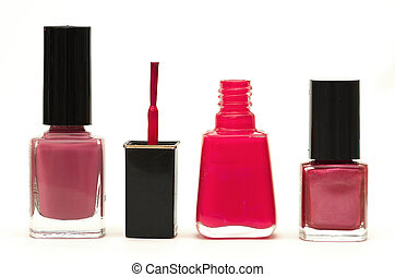 Nail Polish - Nail polish bottles against white.
