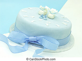Celebration Cake - Boys Christening Cake with little booties...
