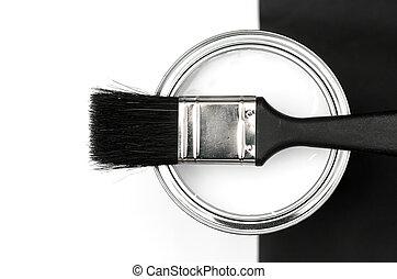 Pintura, cepillo, estaño