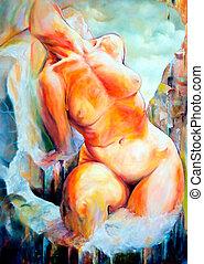 Naked woman torso - Naked woman illustarte torso