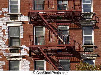 Metal fire escape, Manhattan, New York, America, USA