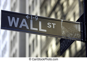 Wall street sign corner of broadway, the brown colour...