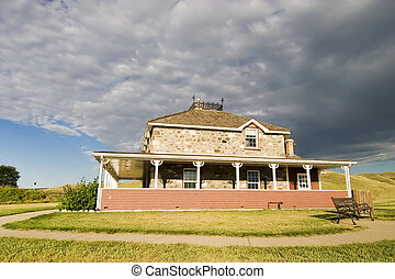 Old Stone house - Goodwin House in Southern Saskatchewan, in...