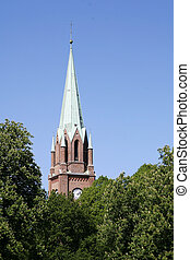 Fredrikstad Domkirke - Fredrikstad Dome Church with trees...