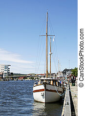 Boat at Dock - A boat at the docks in downtown Fredrikstad,...