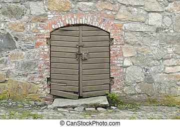 Old Wooden Door - Old wooden door in gamlebyen Fredrikstad,...