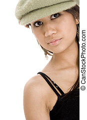 Green Hat - A cool young teenager wears a green hat