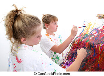 Friends Painting - Two 10 year old friends painting together...